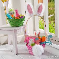 rabbit easter basket bunny ears and cottontail easter basket idea party city