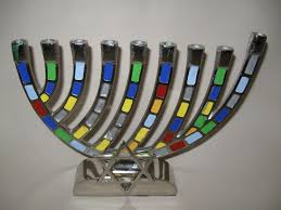 hanukkah candles colors silver tone hanukkah menorah candle stick holder of david