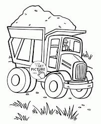 old dump truck loaded with sand coloring page for kids