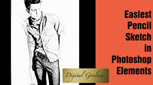 learn photoshop elements create pencil sketch from photo youtube