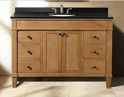 classic 48 inch weathered oak bathroom vanity with black granite top