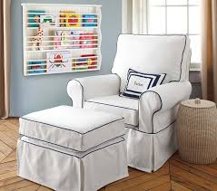 Ottoman Slipcovers Pottery Barn Pb Kids Comfort Chair Slipcover White Twill With Blue Piping