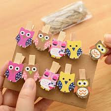 10pcs pack mini owl wooden photo paper peg pin clothes pin craft
