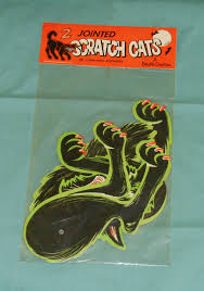 vintage beistle halloween scratch cats jointed black cats new in
