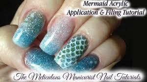 color fade acrylic nails application and nail filing tutorial