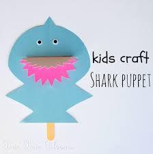 kids craft shark puppet brie brie blooms