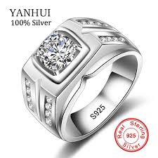 silver ring for men yanhui original 925 silver rings for men sona 1 carat