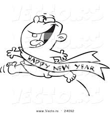 new year sash vector of a excited baby running with a happy new year