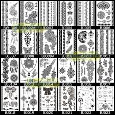 1 sheet tattoo flash black tattoo kit bj206 henna lace flower