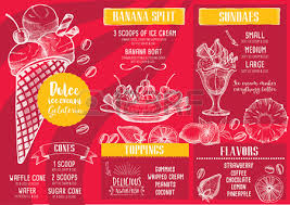 ice cream menu placemat food restaurant brochure dessert template