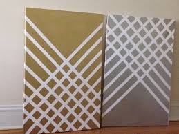 easy diy canvas art step 1 use blue tape and place diagonal lines