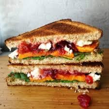 roasted yam cranberry and feta sandwich recipe tastespotting