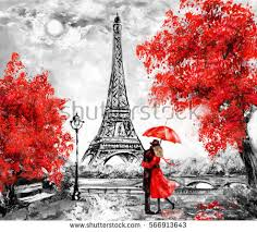 oil painting paris european city landscape stock illustration