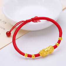 bead weave bracelet images New real 24k yellow gold unisex luck two pixiu with smooth beads jpg