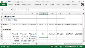 excel formula to allocate an amount into monthly columns excel