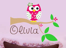 custom girls name with owl wall decal personalized name zoom