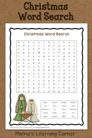 Christmas Worksheets First Grade Christmas Word Search Free Printable Mamas Learning Corner