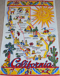 Palm Springs Map California State Map Sunshine Palm Tree Cactus Tea Towel