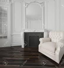 classic white living room interior with a large overmantel mirror