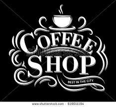 retro vintage coffee shop logo lettering stock vector 619011194
