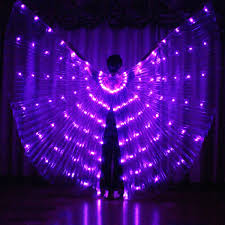 Light Up Costumes Costume Lights White Led Isis Wings Belly Dance Free Sticks Bag New