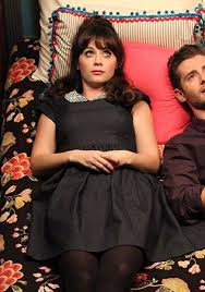 zooey deschanel new girl fashion wwzdw what would zooey deschanel s dark denim dress with beaded collar on new girl