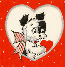 retro valentines puppy on a retro royalty free clipart image
