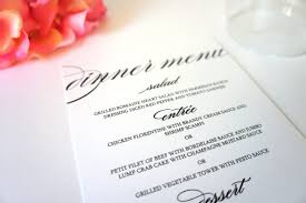 menu cards formal menu card black and white wedding