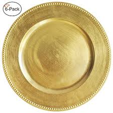 tiger chef 13 inch gold beaded charger plates