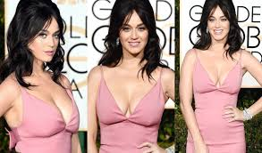 katy perry cleavage in low cut dress at golden globes 2015