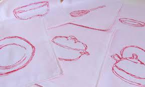 kitchen redwork doodle embroidery design modern redwork hipster