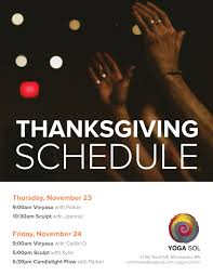 thanksgiving schedule sol