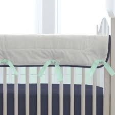 navy and orange woodland crib rail cover carousel designs