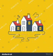 country houses peaceful tiny village riverside stock vector