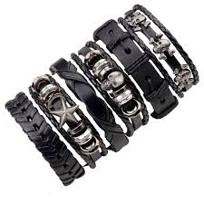 leather bracelet with charms images 6pcs black leather bracelet men woman braid bracelets with metal jpg