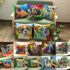 Dog Home Decor by Watercolor Painting Pillow Cover Sofa Cushion Cover Linen 18 Inch
