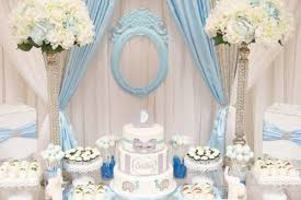 Baby Shower Table - blue and white elephant themed baby shower baby shower ideas