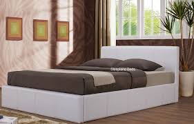 4ft Ottoman Bed With Mattress 4ft White Ottoman Bed By Birlea White Faux Leather