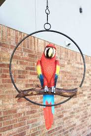 parrot home decor amazon com patio home garden hanging scarlet macaw parrot