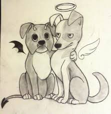 comic dogs angel and devil tattoo by silvernight chan on deviantart