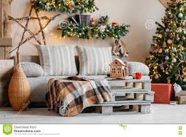 Modern Home Living Room Pictures Christmas Tree In Modern Living Room Stock Photo Image 24062010