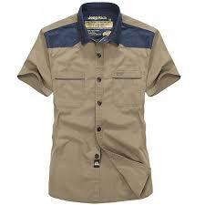 jeep rich plus size summer mens casual short sleeve shirt cotton