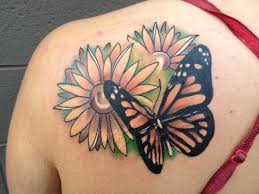 beautiful butterfly on shoulder blade design idea