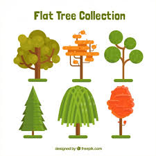 collection of tree in flat design vector free