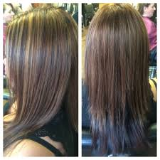 partial red highlights on dark brown hair all over dark red color partial blonde highlight with a keratin