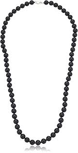 black bead necklace images Sterling silver 8mm black onyx bead necklace 24 jpg