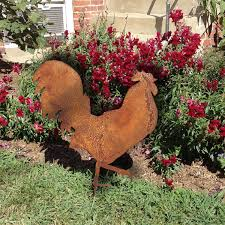 rooster garden stake or wall hanging garden chicken hen