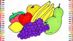 how to draw fruits banana orange grapes coloring pages for