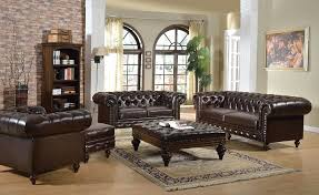 Leather Button Sofa Three Seat Brown Leather Tufted Sofa On Chrome Frame By Johann