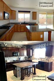 Diy Gel Stain Kitchen Cabinets Kitchen Makeover Gel Stain Backsplash Hardware Apron Sink